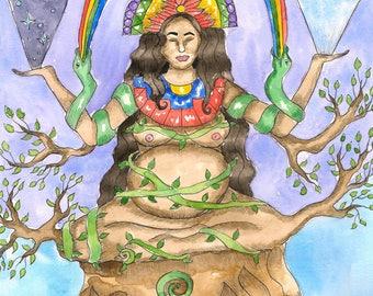 Goddess Art Pachamama Original Watercolor Painting Mother Earth Inca Goddess Pagan Art Fantasy Art Spiritual Art Altar Mythological Art