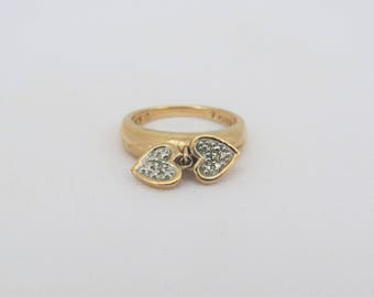 Vintage Sterling Silver Rose Gold Plated Double Heart Ring Size 7