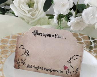 8 Beauty & The Beast Place Cards, Wedding Tent Cards, Fairytale Wedding Cards, Beauty and the Beast Wedding, Wedding Place Cards