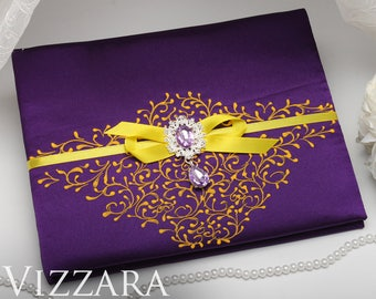 Wedding guest book Purple weddings Guest book ideas for weddings Purple and yellow wedding Guest wedding book Yellow and purple wedding