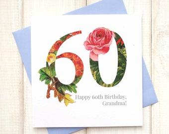 60th Birthday Card - Birthday Card for Her - Floral Birthday Card - Botanical Greetings Card - Grandma Birthday Card - Milestone Birthday