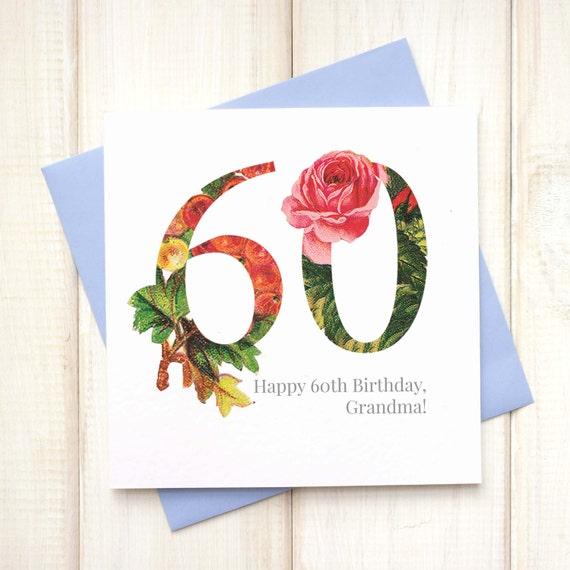 60th Birthday Card Birthday Card For Her Floral Birthday