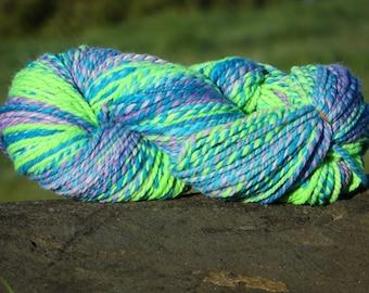 Handspun Hand-Painted Yarn - Merino Wool - 5.5 oz., 155 g., 195 yards - Joy - Super Bulky Weight - Purple, Blue, Green