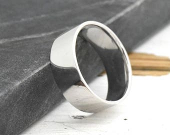 Solid Sterling Silver Mens Wedding Band, Wedding Band Mens, High Polished Unique Comfort Fit Mens Engagement Ring, Engravable Mens Gift