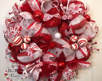 Peppermint Candy Christmas Wreath with Ornaments; front door wreath, Christmas Candy Wreath