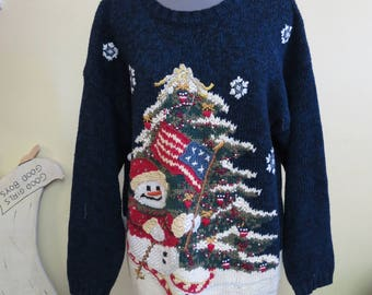 Aunt Edith's Vintage Patriotic snowman Totally Tacky Ugly Christmas Sweater Oversized Size S Womens, Mini Dress, Tiara Sweater