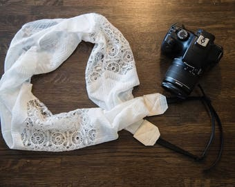 White Lace Camera Strap, Genuine Leather, Medium Weight Photography Strap