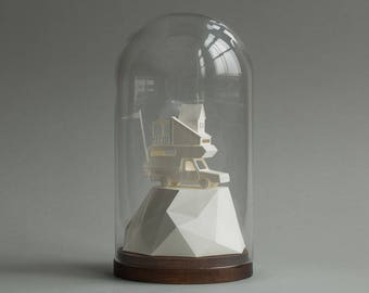 Paper camper with porch - architectural miniature art sculpture in bell jar
