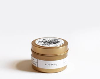 Wild Peony Gold Travel Soy Candle