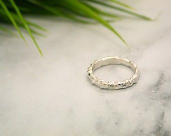 Earthen I Silver Organic Stacking Ring