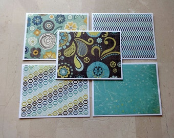 Note Card Set, Blank Note Cards, Note Cards, Thank You Notes, Blank Cards, Set of 5 Note Cards with Matching Envelopes, Teal, Teal Cards