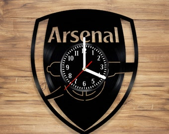 Arsenal F.C. Vinyl Record Wall Clock Football Club London Gunners Perfect Art Decorate Home Style UNIQUE GIFT idea for Him Her (12 inches)