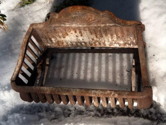 Antique Cast Iron Fireplace Basket Grate Coal Box Wood Log
