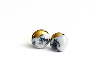 Marbled Porcelain Studs - bridesmaids jewelry - porcelain jewelry - dipped in gold - porcelain earrings