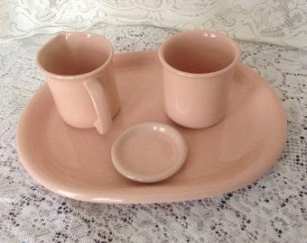 Crown Corning Made in Japan Salmon Pink Creamer Sugar Bowl and Serving Platter