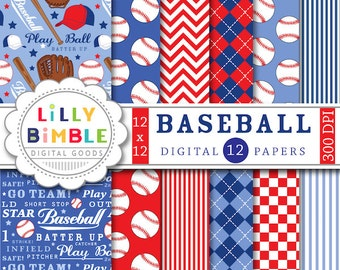 Baseball digital papers scrapbooking invites, birthday party, balls, mitts, play ball, boys red and blue Digital Download