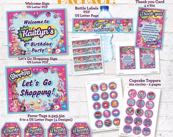 Shopkins Party Package Printable Decorations Shopkins Pack Welcome Signs Favour Tags Cards Drink Bottle Labels Cupcake Toppers DIGITAL FILES