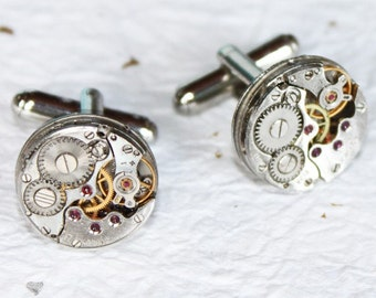 Steampunk Cufflinks: Rare RUSSIAN Pinstripe Etched Vintage Silver Watch Movement Men Steampunk Cufflinks Cuff Links Men Wedding Gift for Men