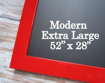 """MODERN Red FRAMED CHALKBOARD For Sale 52""""x28"""" Modern Framed Magnet Board Kitchen Black board Home Organizer Modern Kitchen Decor Chalkboard"""
