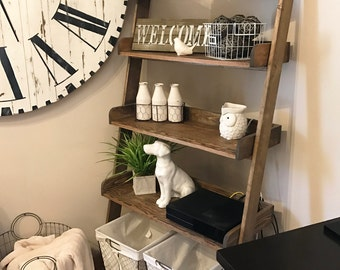 Leaning Ladder Shelf Farmhouse Style LOCAL ONLY / rustic