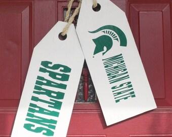 Reversible Wooden Door Hang Tags - Michigan State Door Tags - Custom Wooden Door Tags