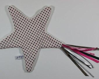 Pretty little flat plush pink shooting star.