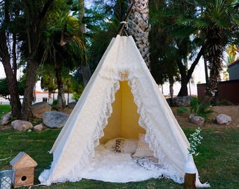 XL Amor lace teepee, 8ft kids Teepee, wedding tent, large tipi, Play tent, wigwam or playhouse with canvas and lace