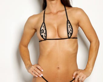 Bitsy's Bikinis Single Tie Teardrop Bikini - Beige Mesh with Black Leopard Animal Print and Black String