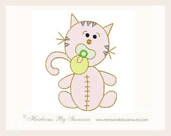 Machine Embroidery Design - Kitty - Kitten - Cat - Baby Design - Children - Boys - Girls - Babies - 4x4 Design - TWO SIZES - No. KITTY-B