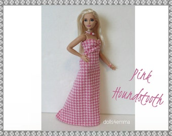 CURVY BARBIE Fashionistas  Doll Clothes - pink houndstooth Gown and Jewelry Set - Handmade Fashion by dolls4emma