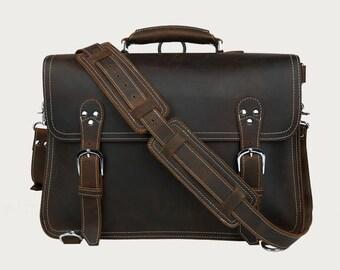 Leather messenger bag satchel crossbody briefcase breifcase 15 14 13 laptop weekender overnight mens womens genuine travel luggage RH12