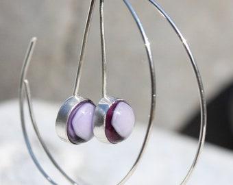 Reverse Silver Hoops with Purple Bezel Set Handmade Glass