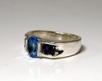 Blue Topaz and Iolite Sterling Silver Ring RF481