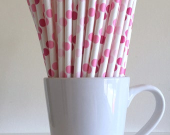 Pink Paper Straws Pale Pink, Pink, and Dark Pink Polka Dot Party Supplies Party Decor Bar Cart Cake Pop Sticks  Graduation