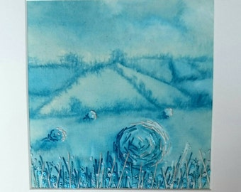 Hay bales in Summer Fields - Small Hand Painted & Stitched Embroidery Mounted Artwork (6 inches by 6 inches)