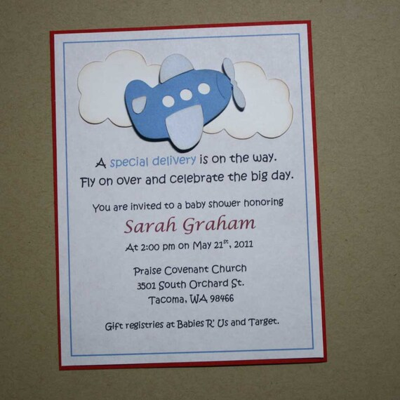 Items Similar To Airplane Birthday Invitation: Items Similar To Airplane Shower Invitations