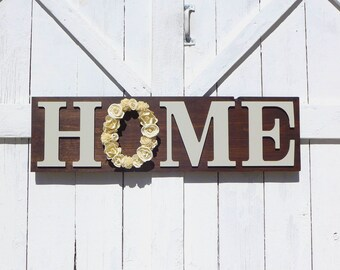 Large Home Sign - Sola Flower Sign - Floral Home Sign  - Sola Flower Wreath Home - Dark Walnut Home Sign - 40 inches - Entryway Sign