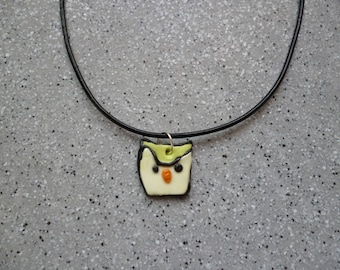 Black leather cord necklace with its pretty OWL pendant with polymer clay