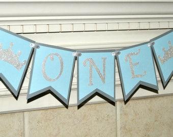Princess Crown Cinderella inspired banner Banner, Blue and Silver banner, High Chair Banner, First Birthday, Photo Prop, Smash Cake Banner