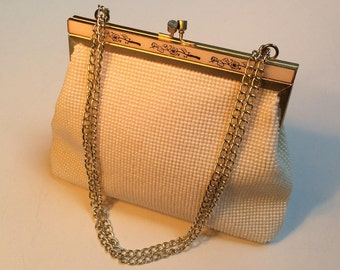 Vintage Wedding Purse, All Pearl Beaded Bag, Embellished Frame, Gold Chain Handle, Beaded Bridal Purse, Evening Bags