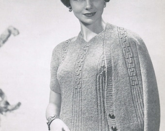 Classic smocked cardigan and pullover pattern PDF / Mad men vintage sweater patterns / Sizes 32 to 46