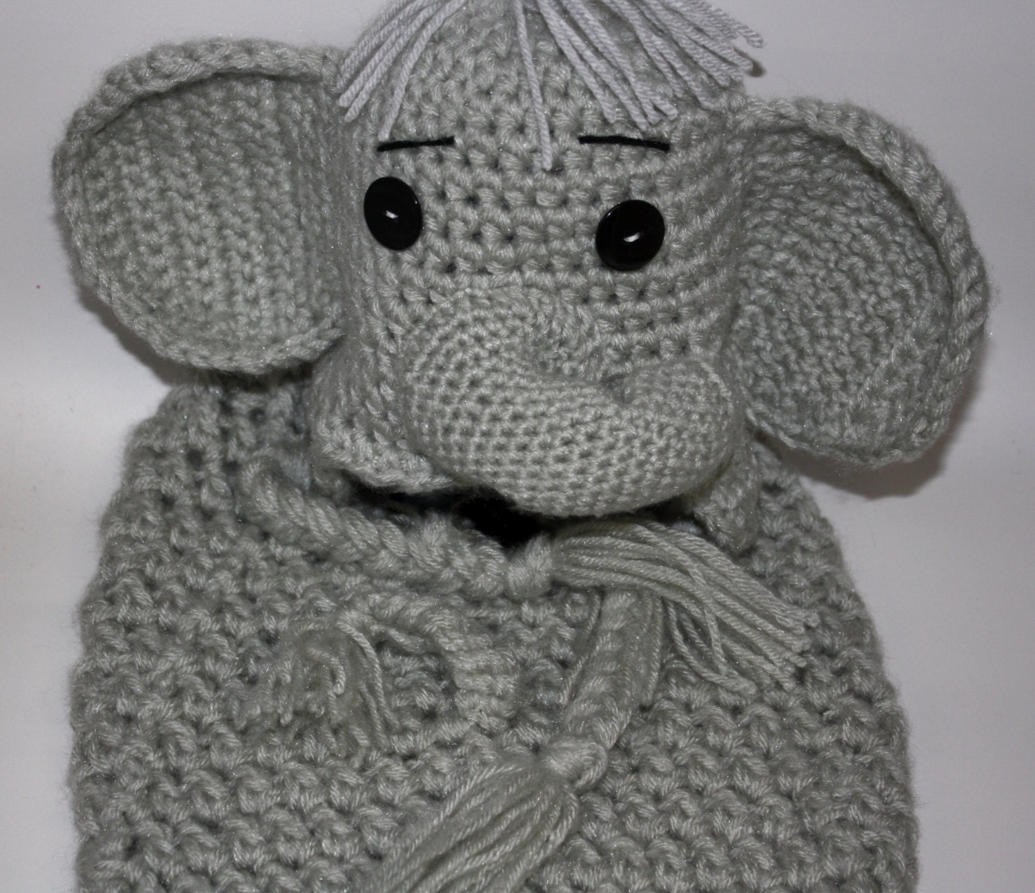 Crocheted Baby Elephant Hat and Cocoon Set Unique Shower
