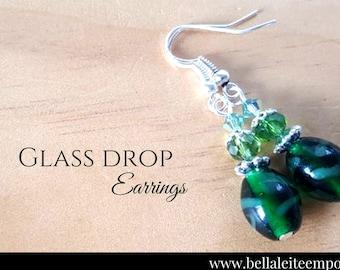 Green Glass Lampwork Crystal dangle Earrings | Crystal earrings | Dangle earrings | Drop earrings