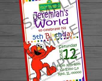 Elmo Birthday Invitation, Elmo's World, 4x6 Invitation