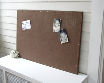 Burlap Magnet Board - MAGNETIC Organization Bulletin Board - 26.5 x 38.5 inches - with Brass Upholstery Nail Head Tacks in Chocolate Brown