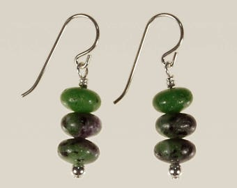 Ruby Zoisite Drop Earrings Spring Jewelry Birthday Mother's Day Gift for Her July Birthstone Minimalist Artisan Pink Green Sterling Silver