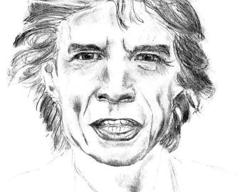 Gift for Musicians - Rock and Roll Decor -  Sir Mick Jagger of the Rolling Stones Print on Canvas by Teo Satre. 20 by 27 Inches