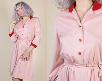 70s Button Up Dress // Vintage Pink Contrast Collar Belted Secretary Dress - XL