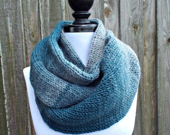 Double Knit Infinity Scarf Womens Knit Scarf - Teal Blue and Silver Grey Ombre Cowl - Chunky Knit Scarf Womens Accessories