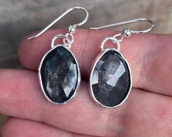 Sapphire Earrings - Natural Sapphire Stones - Dangle Earrings - Sterling Silver - Neutrals - Everyday Earrings - Sapphires - September Birth